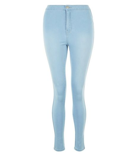Teens Blue Bleached Waist Super Skinny Jeans  | New Look