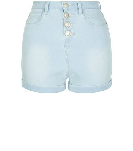 Teens Blue High Waisted Boyfriend Shorts | New Look