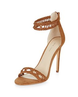 Tan Suedette Woven Strap Heeled Sandals  | New Look