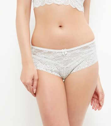 Cream Lace Leg Brazilian Briefs