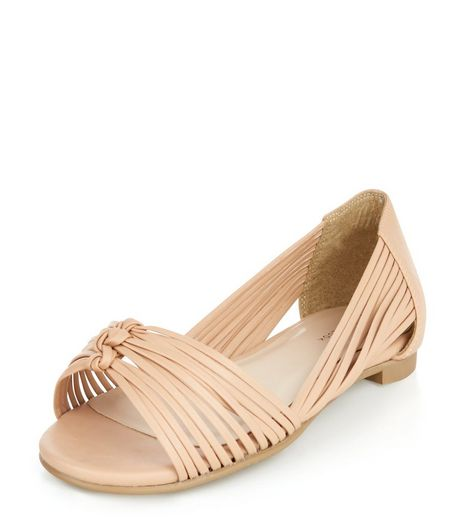 Stone Plaited Strap Peep Toe Sandals  | New Look