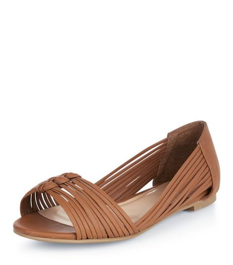 Tan Plaited Strap Peep Toe Sandals  | New Look