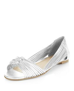 Silver Plaited Strap Peep Toe Sandals  | New Look