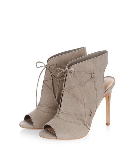 Grey Suedette Lace Up Heeled Boots  | New Look