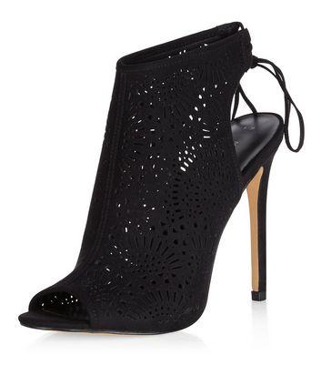 Sandalo  donna Black Suedette Laser Cut Out Peep Toe Heels