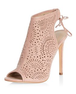 Stone Suedette Laser Cut Out Peep Toe Heels  | New Look