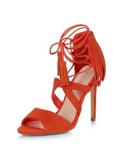 Orange Suede Fringed Ghille Heels  | New Look