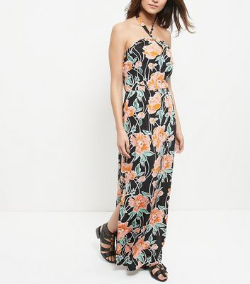 black-floral-print-halter-neck-split-side-maxi-dress