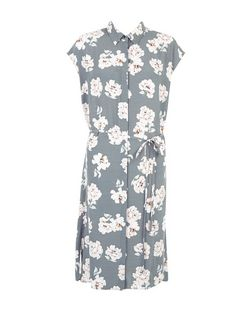 Grey Floral Print Longline Shirt Dress  | New Look