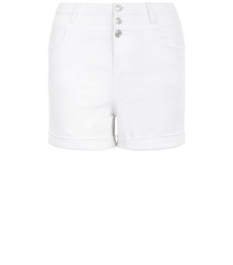 Teens White High Waisted Denim Shorts | New Look