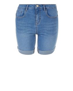 Teens Blue Turn Up Denim Shorts | New Look