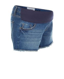 Maternity Blue Under Bump Denim Shorts | New Look