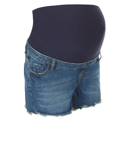 Maternity Blue Over Bump Denim Shorts | New Look