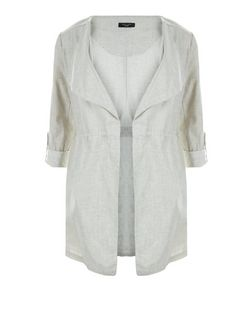 Curves Stone Roll Sleeve Jacket | New Look