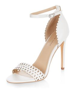 White Laser Cut Out Heeled Sandals  | New Look