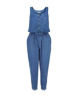 Blue Denim Button Front Tie Waist Jumpsuit  | New Look