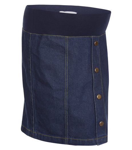 Maternity Blue Button Front Under Bump Denim Skirt | New Look