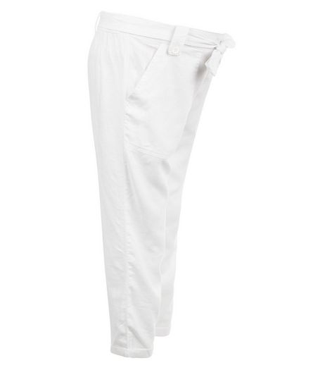 Maternity White Over Bump Belted Trousers | New Look