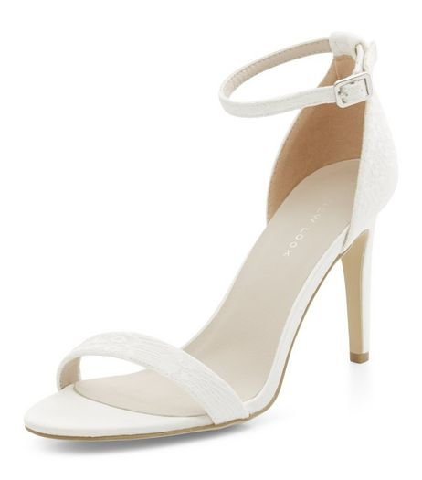 Cream Bridal Lace Ankle Strap Heeled Sandals  | New Look