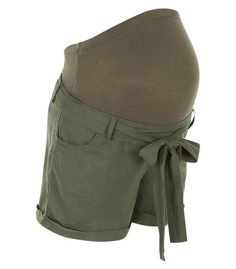 Maternity Khaki Over Bump Belted Shorts | New Look