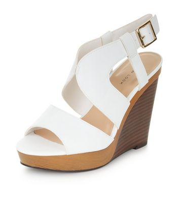 Sandalo  donna White Cut Out Wooden Wedges