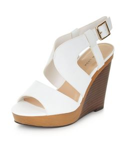 White Cut Out Wooden Wedges  | New Look