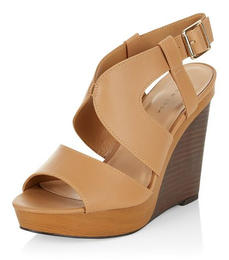 Tan Cut Out Wooden Wedges  | New Look