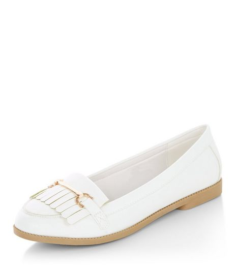Wide Fit White Fringe Metal Trim Loafers  | New Look