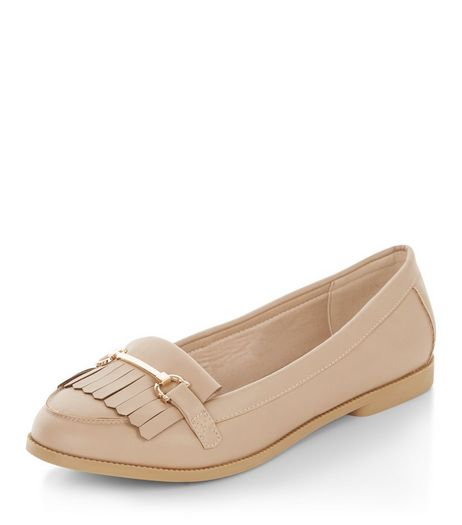 Wide Fit Stone Fringe Metal Trim Loafers  | New Look
