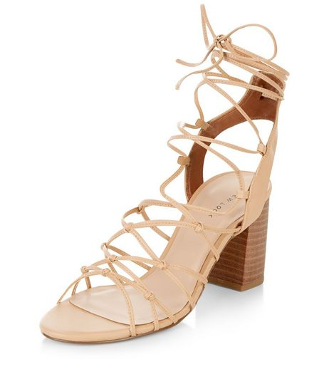 Stone Knotted Ghillie Block Heel Sandals  | New Look