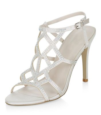 Sandalo  donna Silver Satin Embellished Heeled Sandals