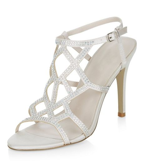Silver Satin Embellished Heeled Sandals  | New Look