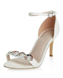 Wide Fit Cream Floral Satin Sandals | New Look