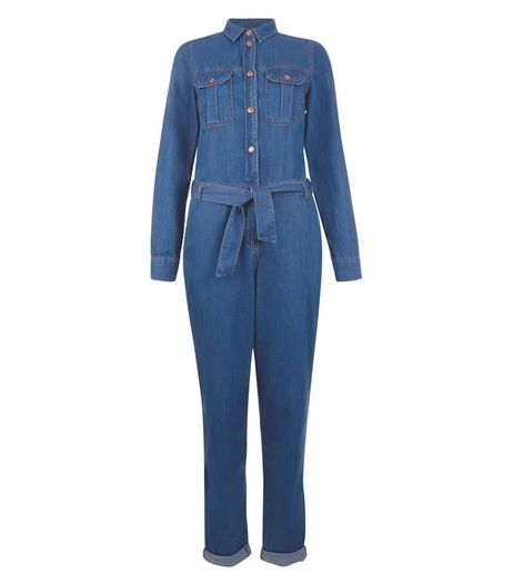 Blue Denim Belted Utility Jumpsuit | New Look