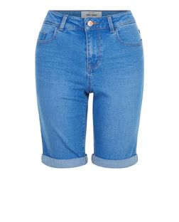 Blue Turn Up Denim Shorts  | New Look