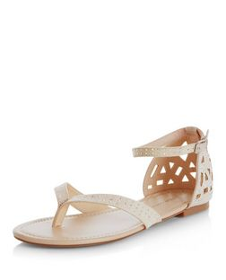 Wide Fit Stone Suedette Diamante Embellished Sandals  | New Look