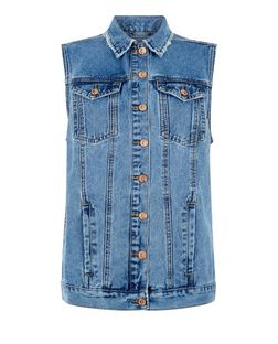 Blue Denim Fray Trim Gilet  | New Look