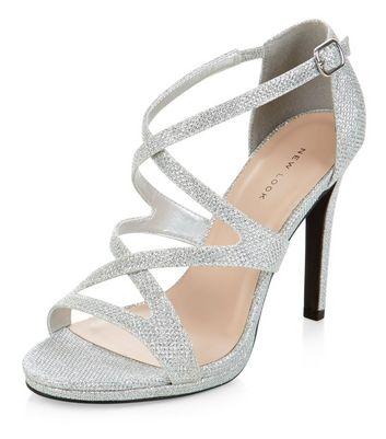Sandalo  donna Silver Glitter Strappy Heels