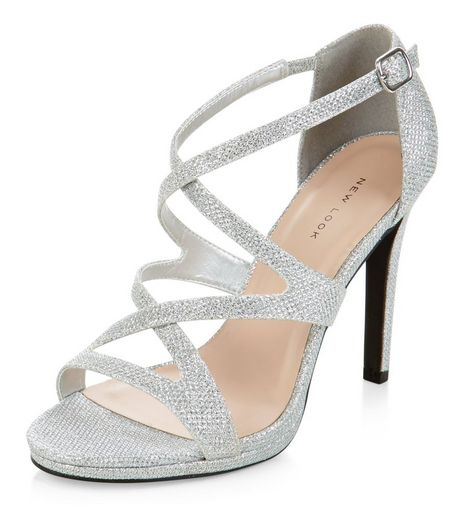 Silver Glitter Strappy Heels  | New Look