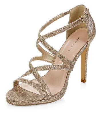 Sandalo  donna Gold Glitter Strappy Heels