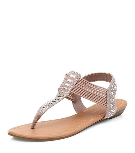 Stone Embellished Cut Out Sandals  | New Look