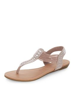 Silver Embellished Laser Cut Out Strappy Sandals  | New Look