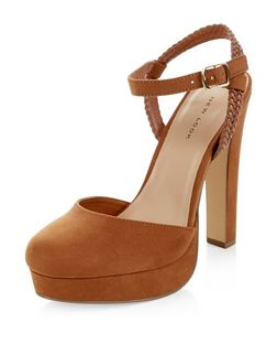 Tan Suedette Plaited Strap Platform Heels  | New Look