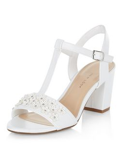 Teens White Floral Embellished Block Heel Sandals  | New Look
