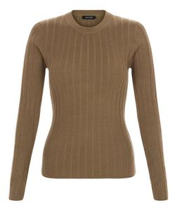 Khaki Ribbed Long Sleeve Top  | New Look