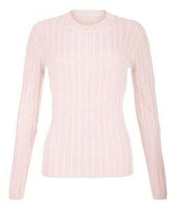 Shell Pink Ribbed Long Sleeve Top  | New Look