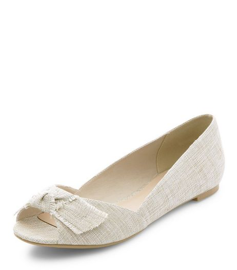 Cream Canvas Bow Front Peep Toe Pumps  | New Look