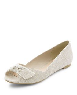 Cream Canvas Bow Front Peeptoe Pumps  | New Look