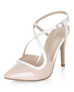 Pink Patent Cross Strap Pointed Heels  | New Look