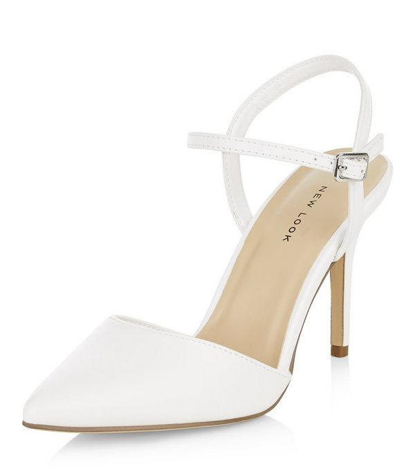 White Sling Back Pointed Heels